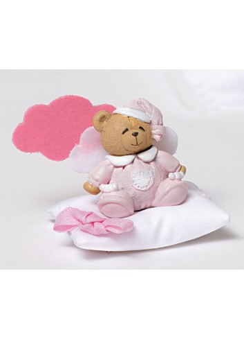 Magnete orsetto rosa con cuscino portaconfetti e nuvoletta 130451/A2 Teddy AD Emozioni