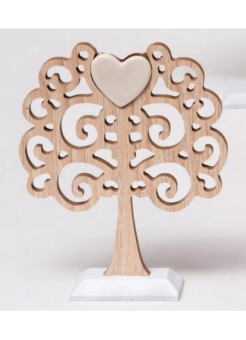 Albero della vita piccolo in legno con cuore centrale in porcellana A5501/B Wood for love AD Emozioni