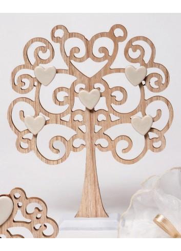 Albero della vita grande in legno con cuoricini in porcellana A5502/B Wood for love AD Emozioni