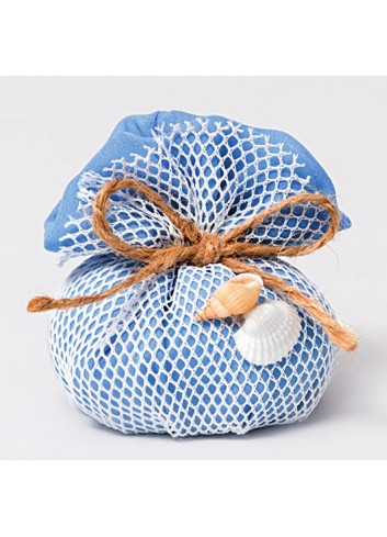 Sacchetto mare con rete e conchiglie bianco/blu Summer 091661/16 AD Emozioni