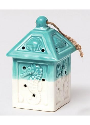 Lanterna in ceramica bianco/tiffany con led Summer A4704/22 AD Emozioni