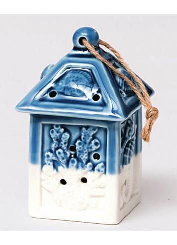 Lanterna in ceramica bianco/blu con led Summer A4704/16 AD Emozioni