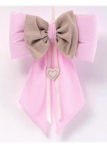 Fiocco in cotone rosa con magnete e cuoricino 091591/F2 Ninna nanna AD Emozioni