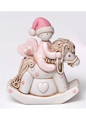 Salvadanaio cavallino a dondolo in poliresina rosa 130403/2 Ninna nanna AD Emozioni