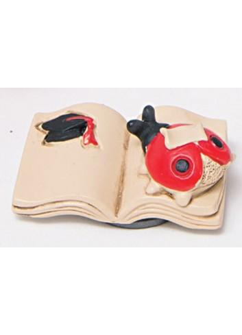Libro magnete in poliresina con coccinella 130411 Laurea AD Emozioni