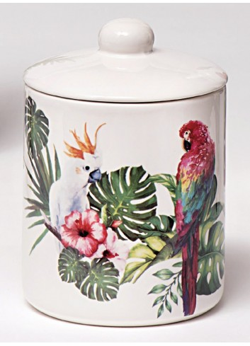 Barattolo pappagallo in porcellana A2405 Jungle Ad Emozioni