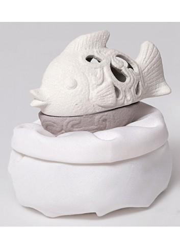 Scatolina pesce in porcellana + sacchetto A3405 A Mediterraneo Ad Emozioni