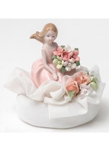 Damina piccola rosa in porcellana +sacchetto A2102 Damine Ad Emozioni