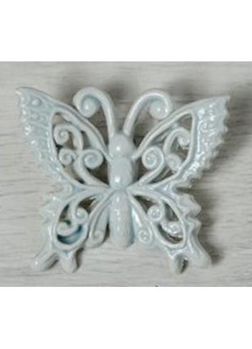 """Farfalla decoro """"Riccioli"""" in ceramica porcellanata artigianale pugliese"""