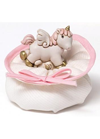 Unicorno piccolo in poliresina con sacchettino 130342/A2 Pegaso Ad Emozioni