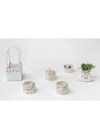 Portacandele animaletti in porcellana 4 modelli assortiti + sacchettino con piantina A6901/F Nature AD Emozioni