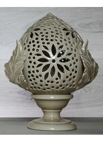 """Pomo Lampada in ceramica porcellanata artigianale pugliese H. 33 cm decoro """"Traforo con Fiore"""""""