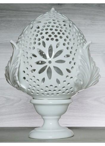 """Pomo Lampada in ceramica porcellanata artigianale pugliese H. 38 cm decoro """"Traforo con Fiore"""""""