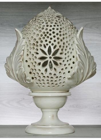 """Pomo Lampada in ceramica porcellanata artigianale pugliese H. 43 cm decoro """"Traforo con Fiore"""""""