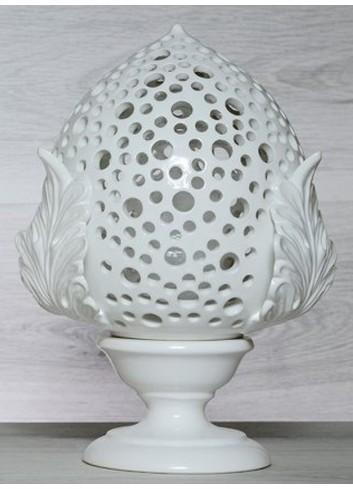 """Pomo Lampada in ceramica porcellanata artigianale pugliese H. 33 cm decoro """"Bolle"""""""