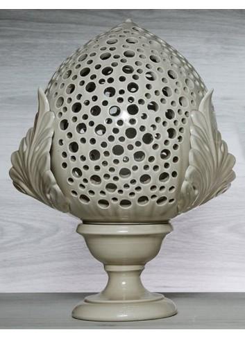 """Pomo Lampada in ceramica porcellanata artigianale pugliese H. 38 cm decoro """"Bolle"""""""