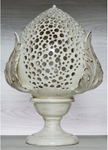 """Pomo Lampada in ceramica porcellanata artigianale pugliese H. 43 cm decoro """"Bolle"""""""