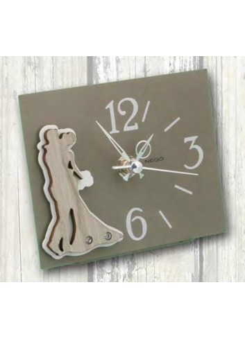 Orologio in metallo con applicazione Sposi in metallo e legno + strass SPO-03-06 Serie Sposi Negò