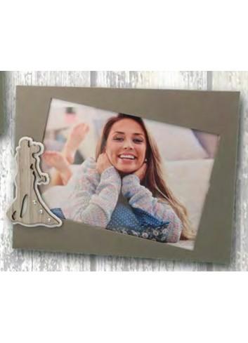 Portafoto in metallo con applicazione Sposi in metallo e legno + strass SPO-01-1-2-3 Serie Sposi Negò