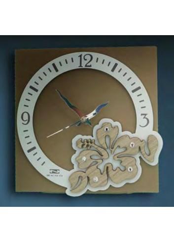 Orologio in metallo con applicazione legno e strass HIB-30 HIB-40 Hibiscus Negò
