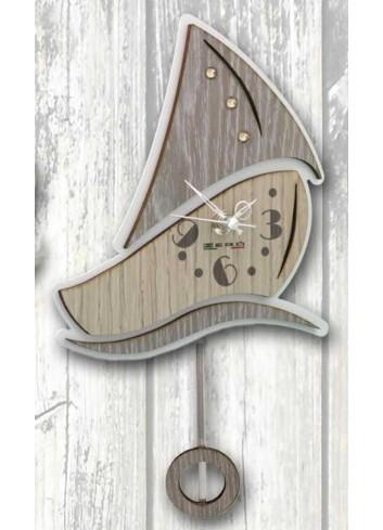 Orologio a pendolo Barchetta in legno e metallo con strass PNN-01 Pendoli Negolotti Negò