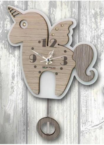 Orologio a pendolo Unicorno in legno e metallo con strass PNN-02 Pendoli Negolotti Negò