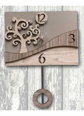 """Orologio a pendolo in metallo e legno con strass decoro """"Albero"""" 3D-05/06 Pendoli 3D Negò"""