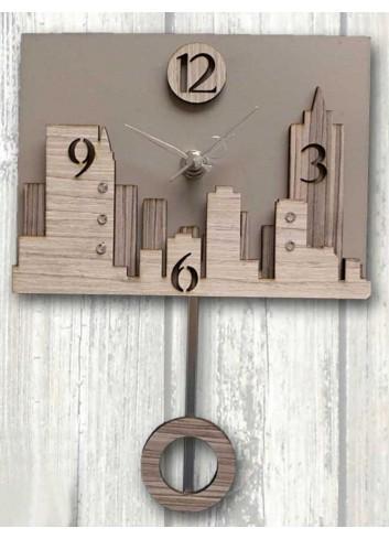 """Orologio a pendolo in metallo e legno con strass decoro """"Skyline"""" 3D-03/04 Pendoli 3D Negò"""