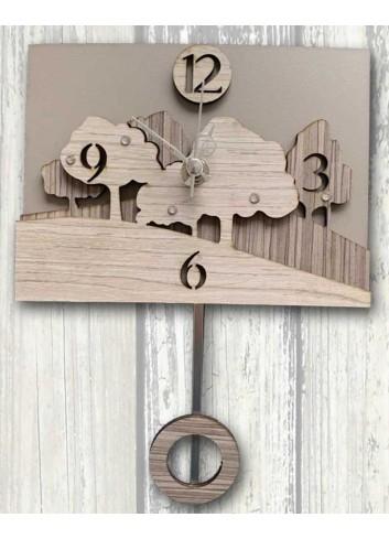 """Orologio a pendolo in metallo e legno con strass decoro """"Bosco"""" 3D-01/02 Pendoli 3D Negò"""
