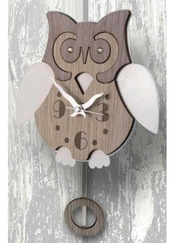 Orologio a pendolo Gufo in legno e metallo con strass PNN-05 Pendoli Negolotti Negò