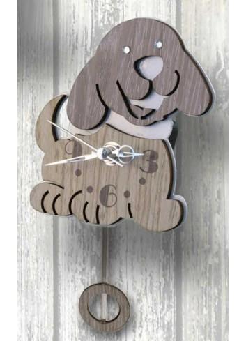 Orologio a pendolo Cagnolino in legno e metallo con strass PNN-06 Pendoli Negolotti Negò