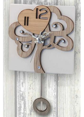 Orologio a pendolo Albero della vita in legno e metallo con strass PND-06 Pendoli Negò