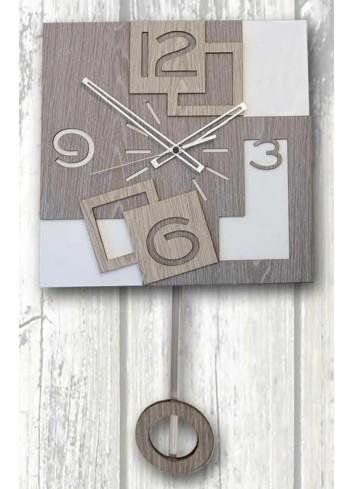 Orologio a pendolo Quadra in legno e metallo PND-03 Pendoli Negò