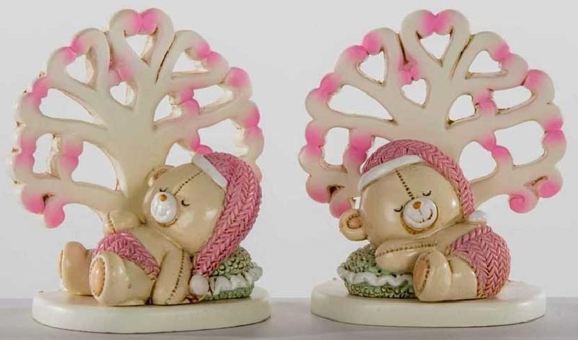 Albero della vita con orsetto femmina in resina 2 modelli assortiti C1972 Kharma Living