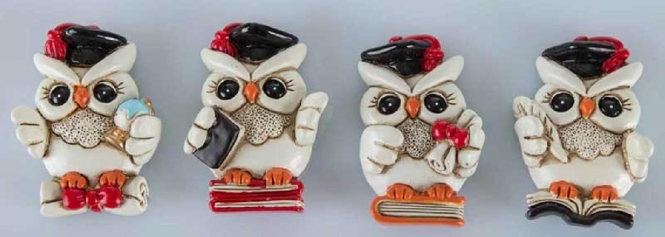 Magnete Gufetto Laurea su libro in resina 4 modelli assortiti C1952 Kharma Living