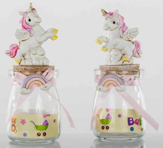 Barattolo in vetro con Unicorno in resina 2 modelli assortiti C1961 Kharma Living