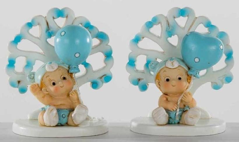 Albero della vita con bimbo con palloncino azzurro in resina 2 modelli assortiti B9293 Kharma Living