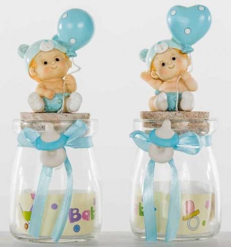 Barattolo in vetro con bimbo con palloncino azzurro in resina 2 modelli assortiti B9291 Kharma Living