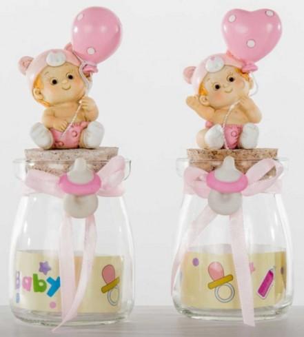 Barattolo in vetro con bimba con palloncino rosa in resina 2 modelli assortiti B9290 Kharma Living