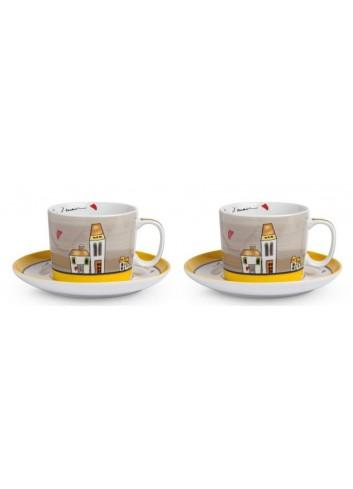 Set 2 Tazze colazione Giallo con piattino 340 ml PLC12/1G Le casette Egan