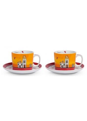 Set 2 Tazze colazione Rosso con piattino 340 ml PLC12/1R Le casette Egan