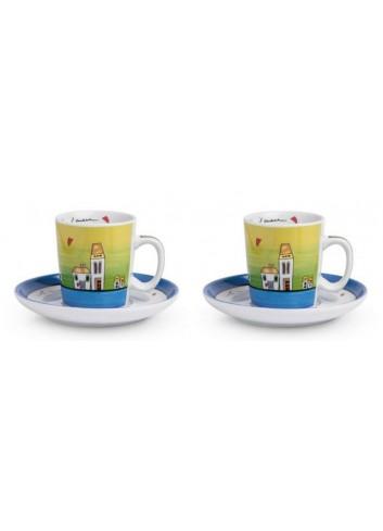 Set 2 tazzine caffè Blu con piattino 100 ml PLC02/1B Le casette Egan