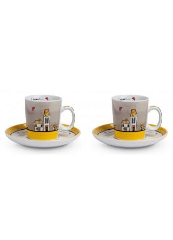 Set 2 tazzine caffè Giallo con piattino 100 ml PLC02/1G Le casette Egan