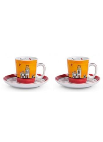 Set 2 tazzine caffè Rosso con piattino 100 ml PLC02/1R Le casette Egan