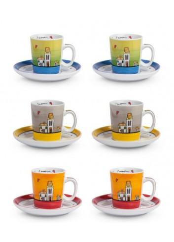 Set 6 tazzine caffè con piattino 100 ml PLC06/1Z Le casette Egan