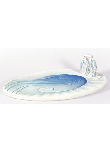 Centrotavola ovale 20 x 28 cm decoro Marina Acqua 32026AQ Paesaggi sospesi Cartapietra