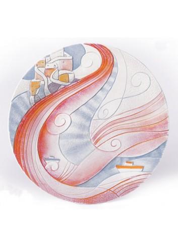 Piatto da appendere e da appoggio Ø 36 cm decoro Marina Arancio 73626AR Paesaggi sospesi Cartapietra
