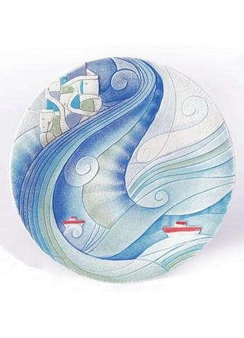 Piatto da appendere e da appoggio Ø 36 cm decoro Marina Acqua 73626AQ Paesaggi sospesi Cartapietra