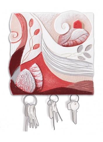 Appendichiavi da parete a 3 posti decoro Paesaggio Corallo 62014cr Paesaggi sospesi Cartapietra
