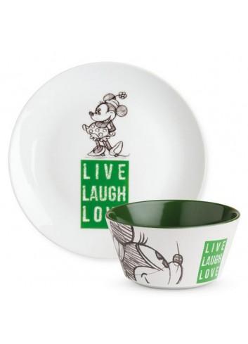 Set Piatto dolce e Bowl Minnie Verde PWMSETLL/S Live Laugh Love Egan